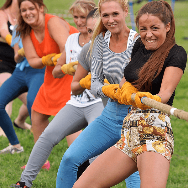 Women on hen party in Edinburgh enjoying a Mini Highland Games with Great Away Days